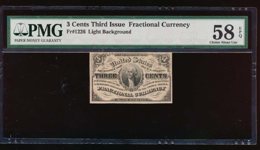 3 Cent Third Issue Fractional Currency PMG 58EPQ