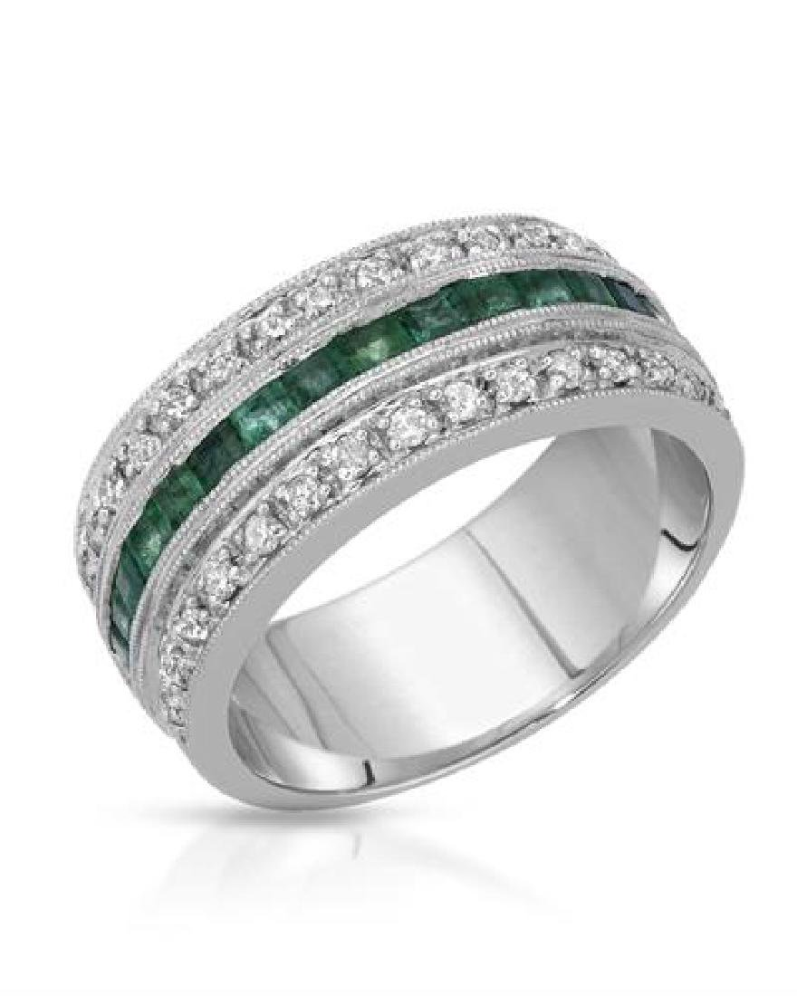 18KT White Gold 0.88ctw Emerald and Diamond Ring