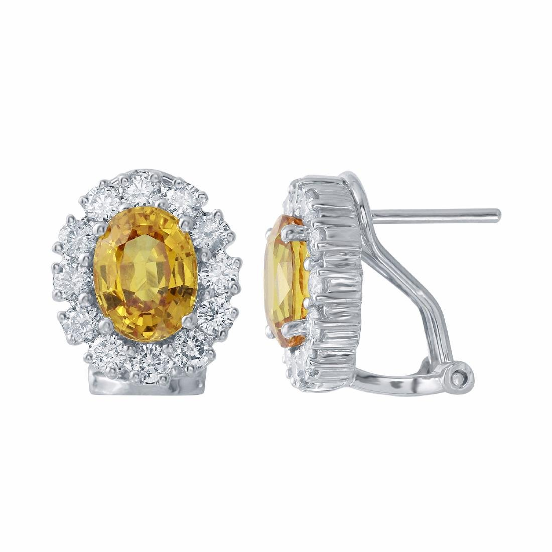 14KT White Gold 3.26ctw Yellow Sapphire and Diamond