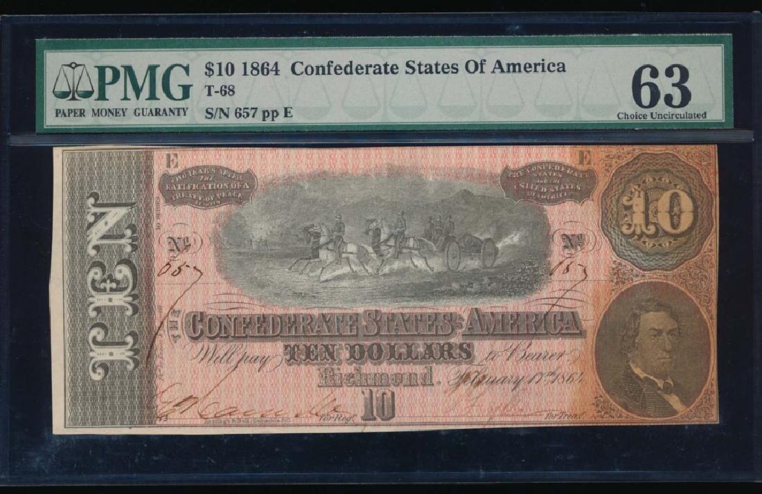 1864 $10 Confederate State of American Note PMG 63