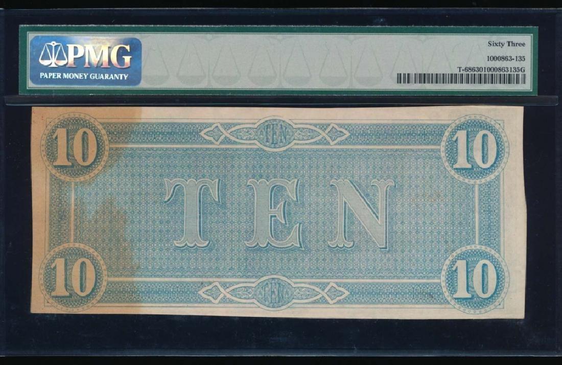 1864 $10 Confederate State of American Note PMG 63 - 2
