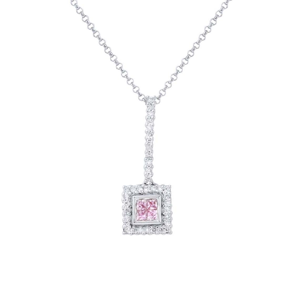14KT White Gold 0.21ct Pink Sapphire and Diamond
