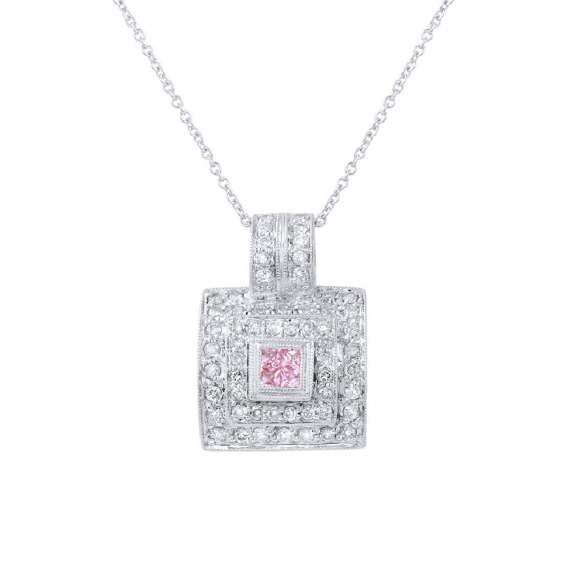 18KT White Gold Pink Sapphire and Diamond Pendant with