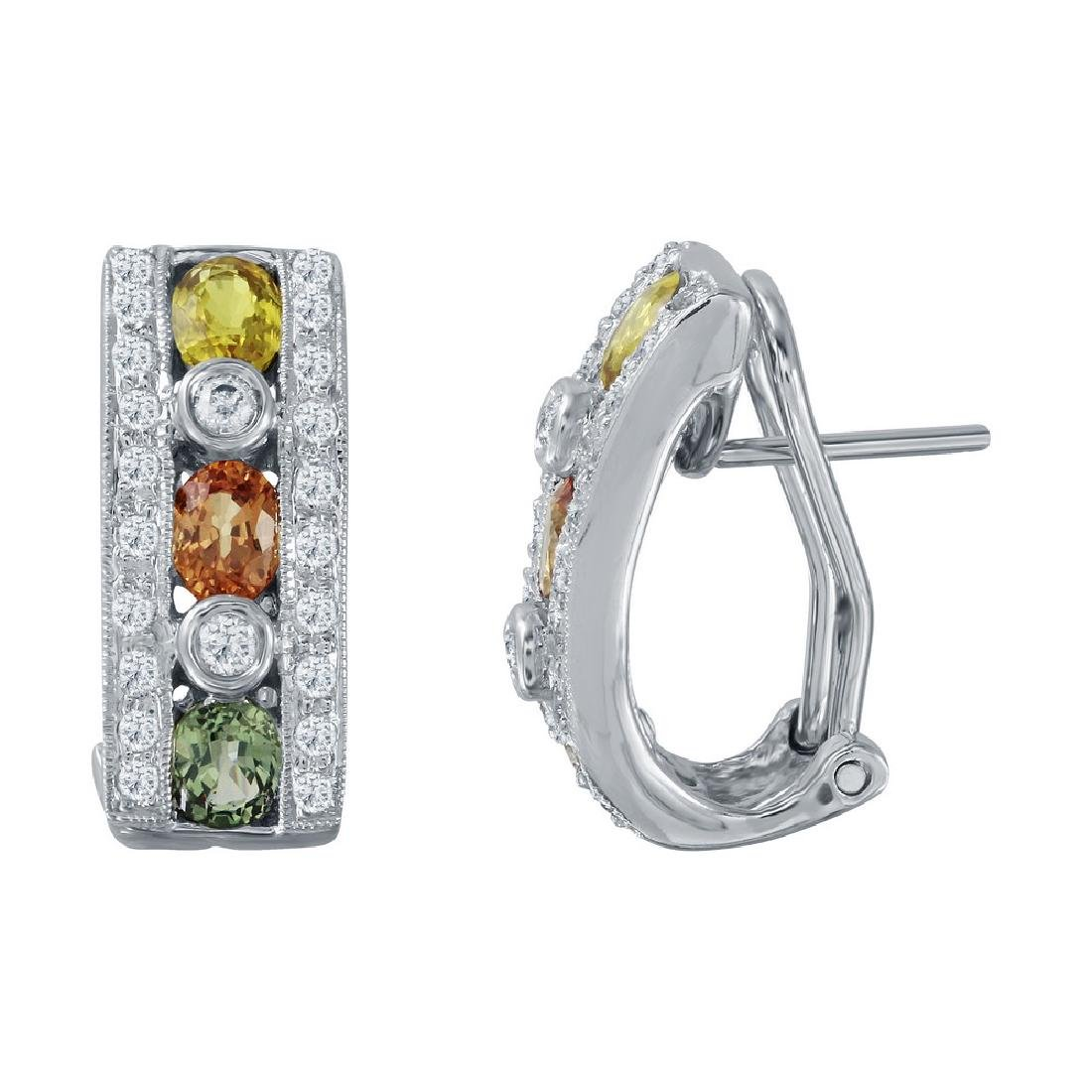 14KT White Gold 1.79ctw Multi Color Sapphire and