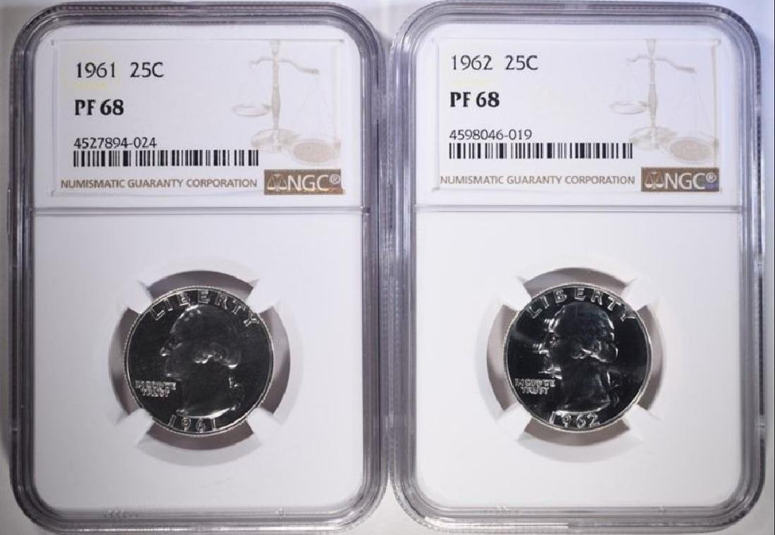 1961 and 1962 Washington Quarters NGC PF68
