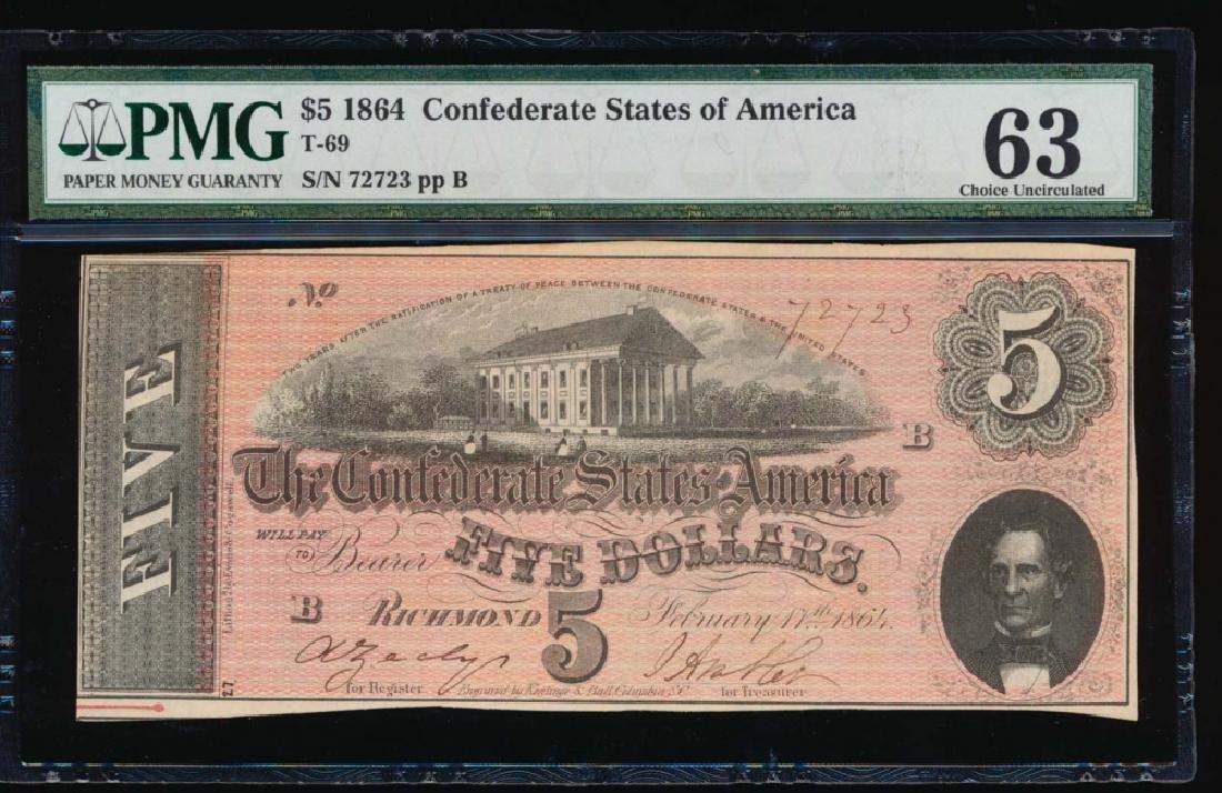1864 $5 Confederate State of American Note PMG 63