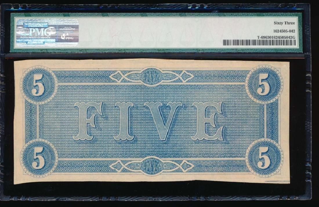 1864 $5 Confederate State of American Note PMG 63 - 2