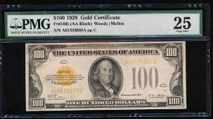 1928 $100 Gold Certificate PMG 25 Very Fine