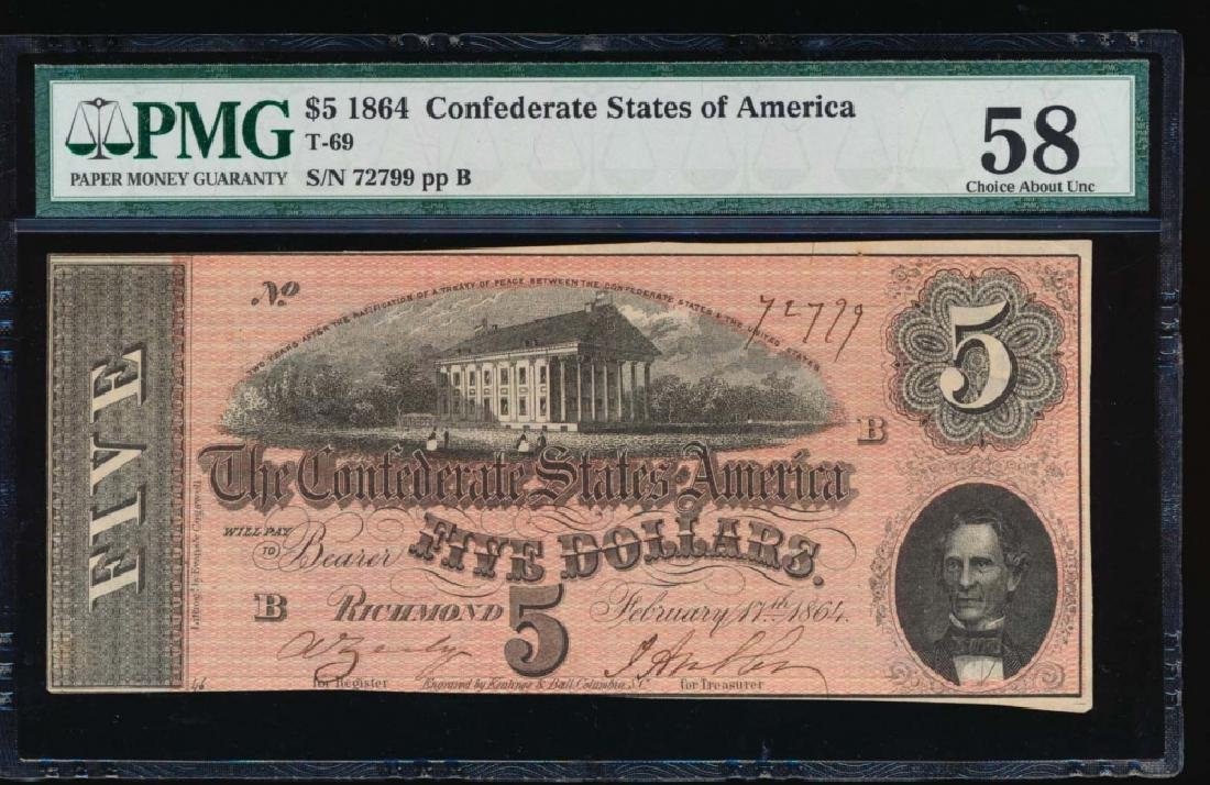 1864 $5 Confederate State of American Note PMG 58