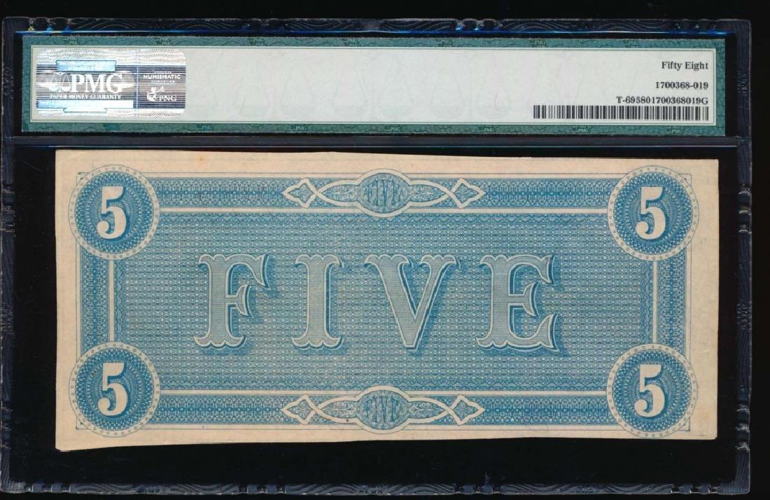 1864 $5 Confederate State of American Note PMG 58 - 2