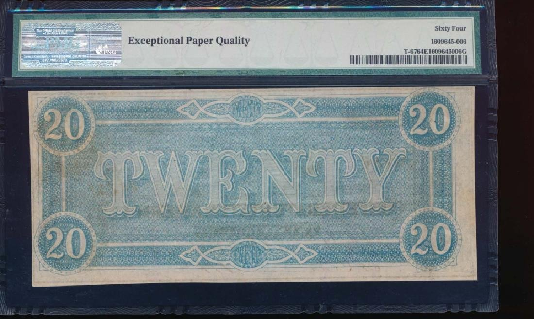 1864 $20 Confederate States of America Note PMG 64EPQ - 2