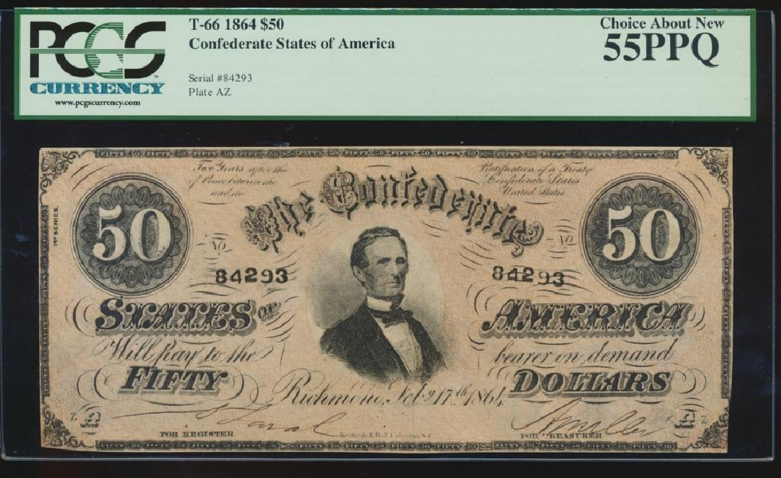 1864 $50 Confederate States of American Note PCGS 55PPQ