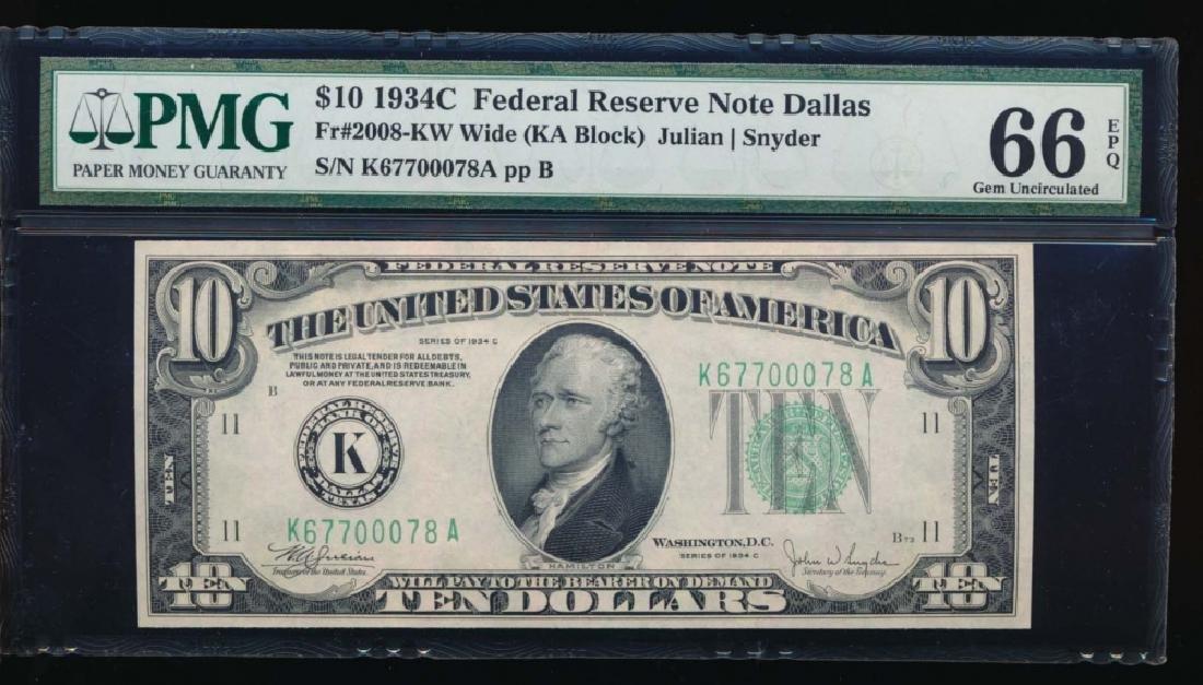 1934C $10 Dallas Federal Reserve Note PMG 66EPQ