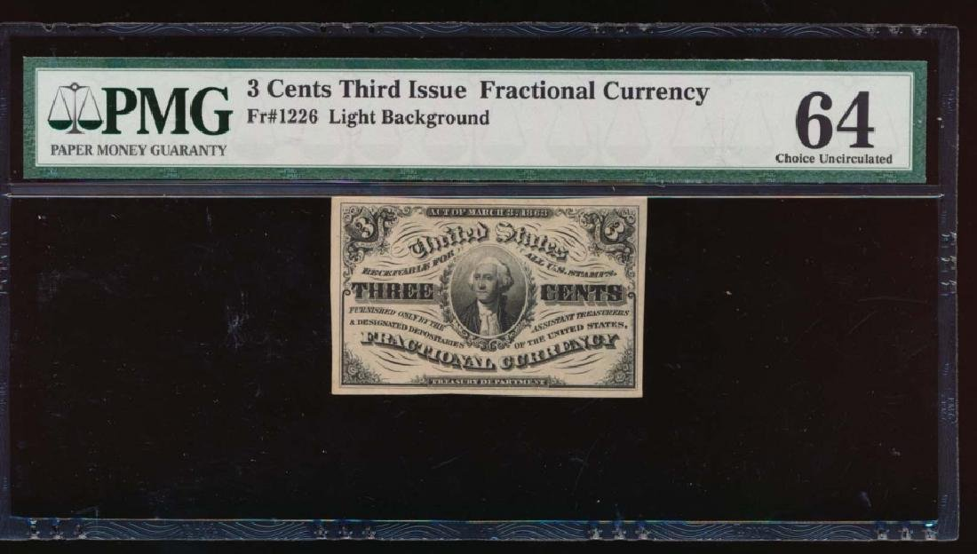 3 Cent Third Issue Fractional Note PMG 64