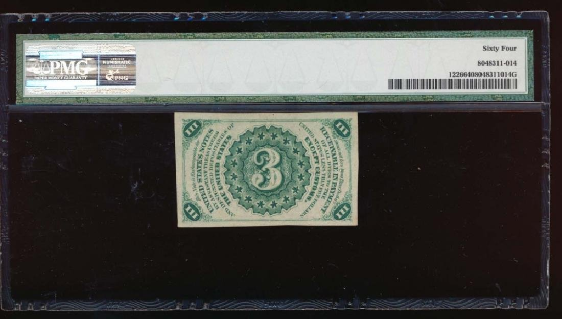3 Cent Third Issue Fractional Note PMG 64 - 2