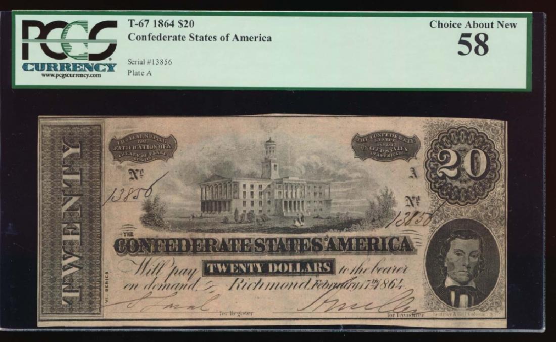 1864 $20 Confederate States of America Note PCGS 58