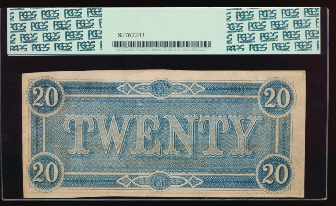 1864 $20 Confederate States of America Note PCGS 58 - 2