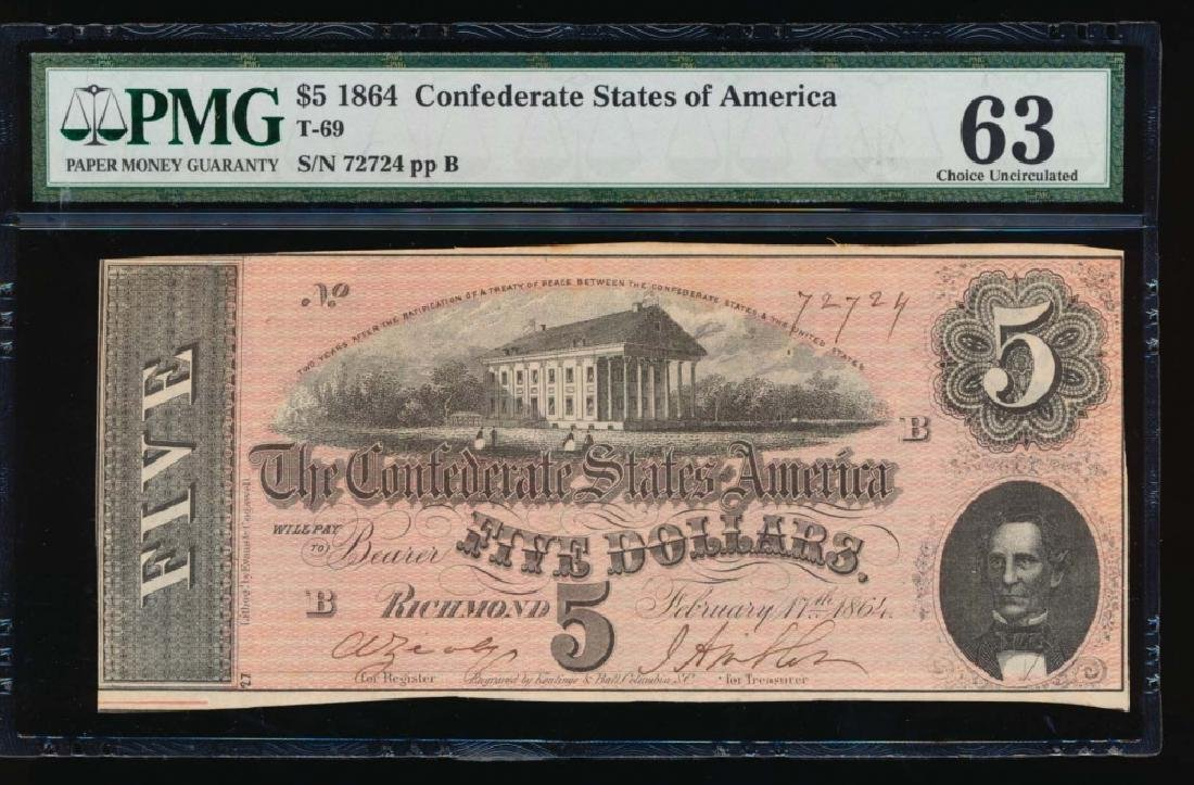 1864 $5 Confederate States of American Note PMG 63