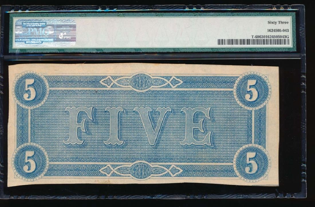 1864 $5 Confederate States of American Note PMG 63 - 2