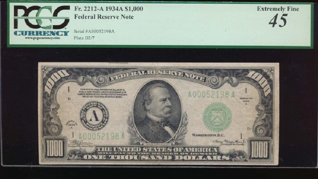 1934A $1000 Boston Federal Reserve Note PCGS 45