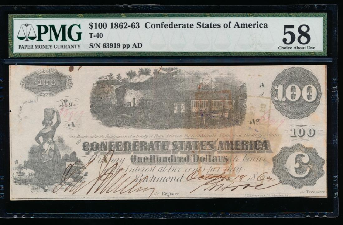 1861 $100 Confederate States of America Note PMG 58