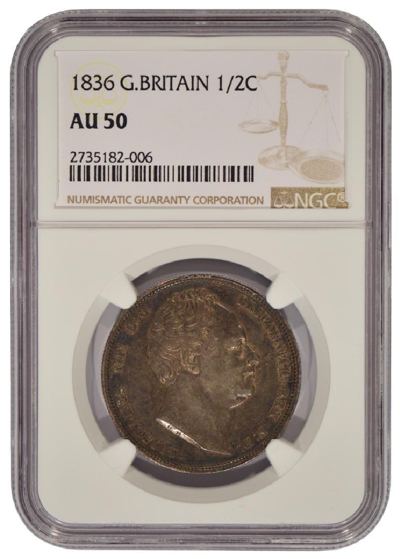1836 Great Britain Half Crown Coin NGC AU50