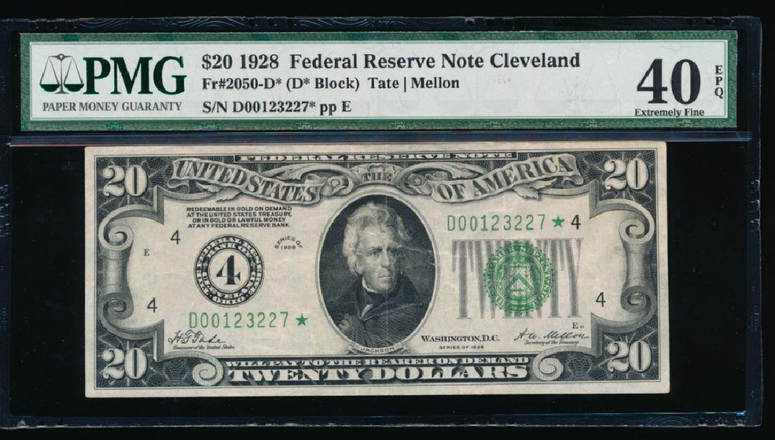 1928 $20 Cleveland Federal Reserve Note PMG 40EPQ