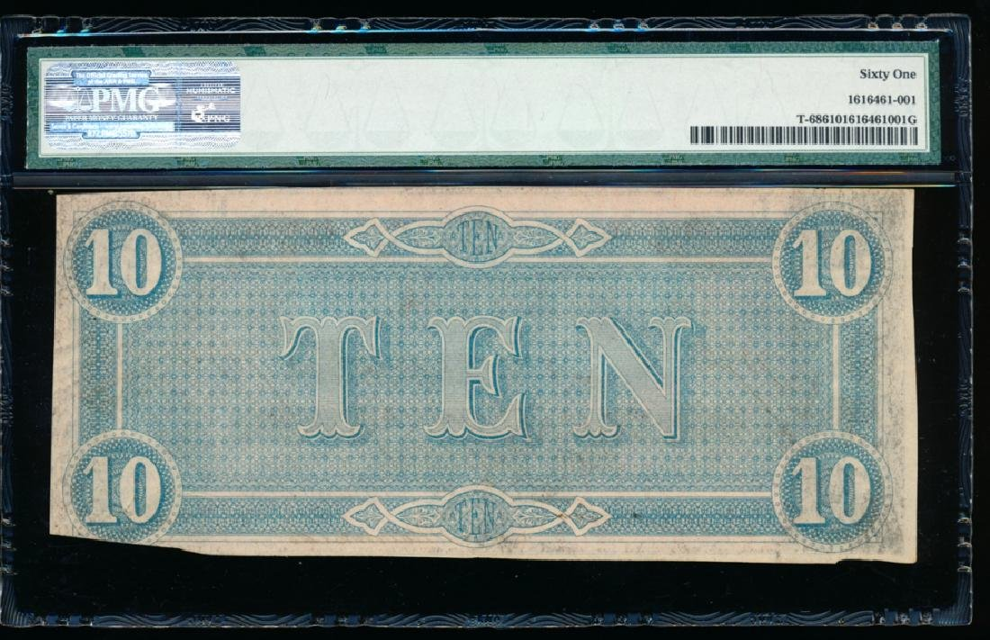 1864 $10 Confederate States of America Note PMG 61 - 2