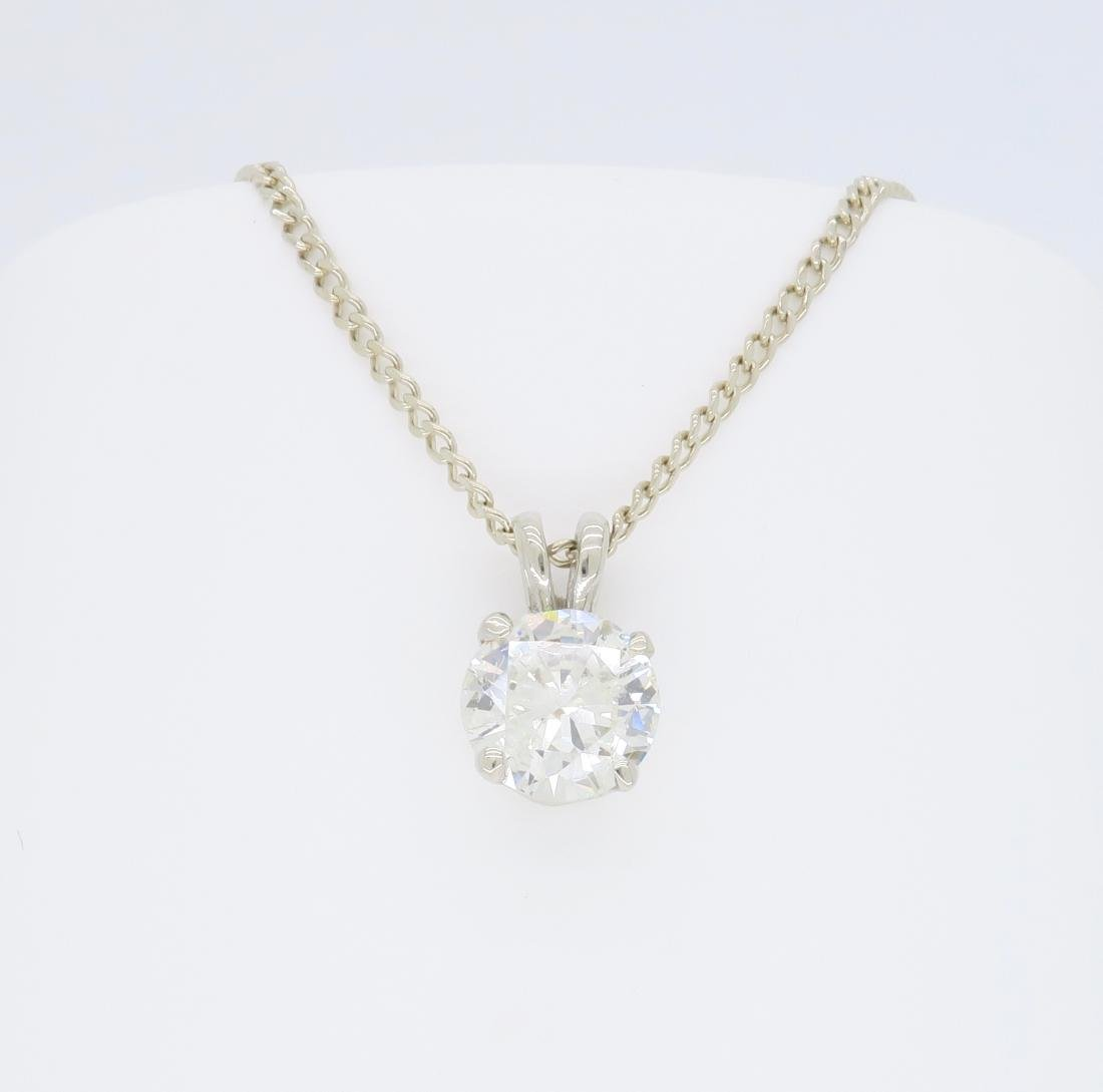 14KT White Gold 1.11ct Diamond Pendant with Chain