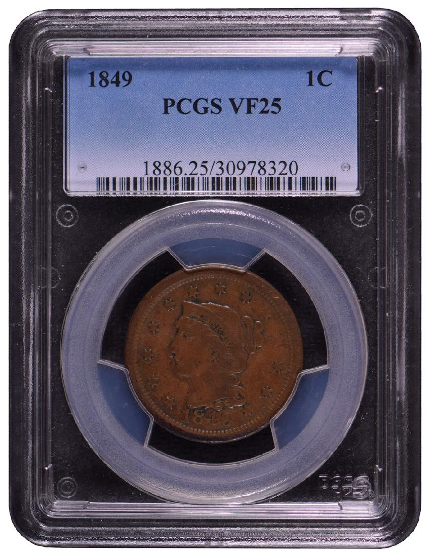 1849 Braided Hair Large Cent Coin PCGS VF25
