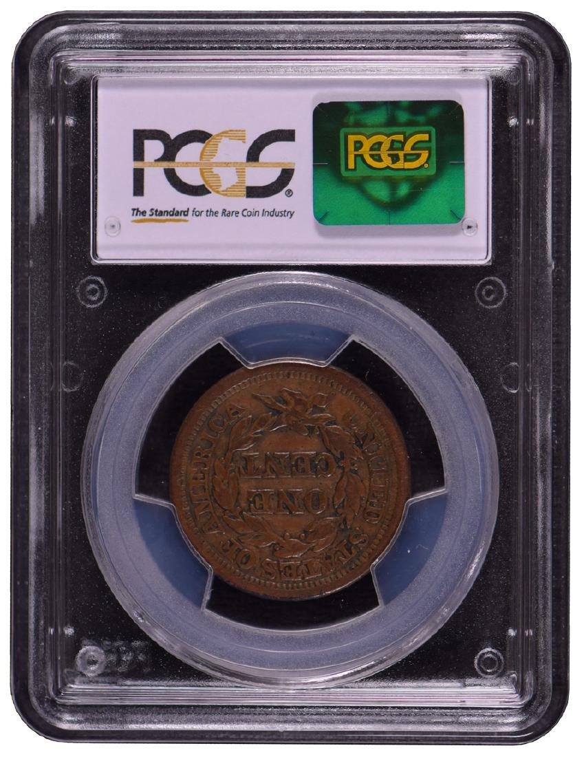 1849 Braided Hair Large Cent Coin PCGS VF25 - 2