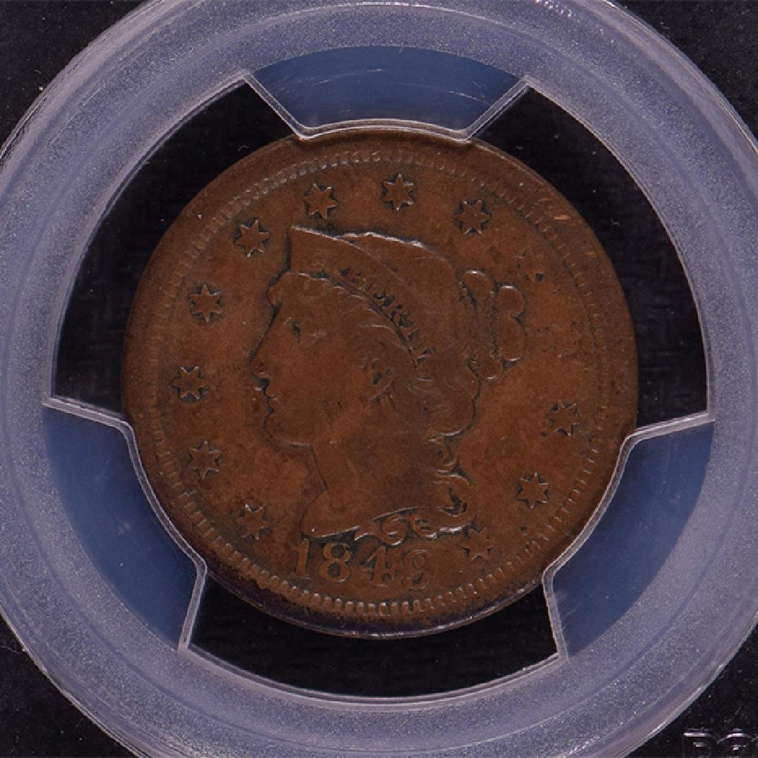 1849 Braided Hair Large Cent Coin PCGS VF25 - 3