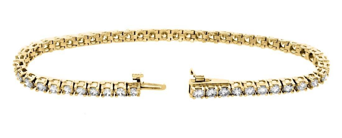 18KT Yellow Gold 5.00ctw Diamond Tennis Bracelet - 3