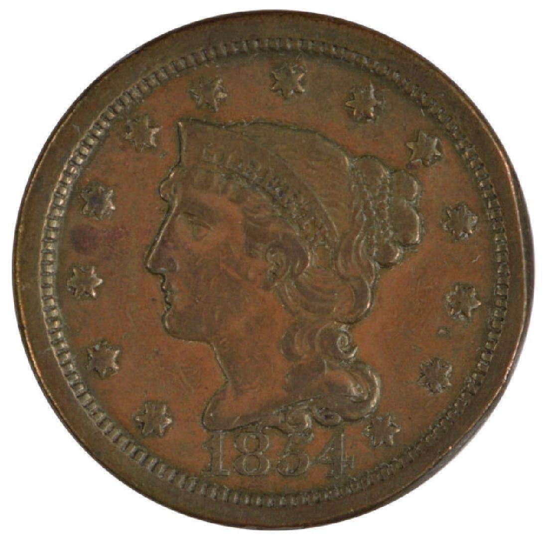 1854 Braided Hair Large Cent Coin