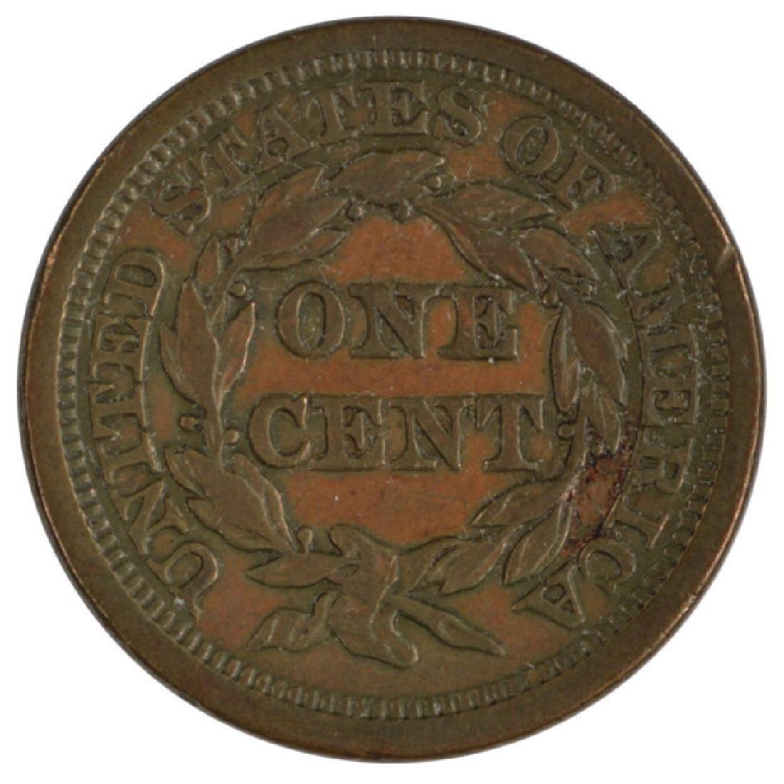 1854 Braided Hair Large Cent Coin - 2