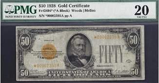 1928 $50 Gold Certificate Star Note PMG 20