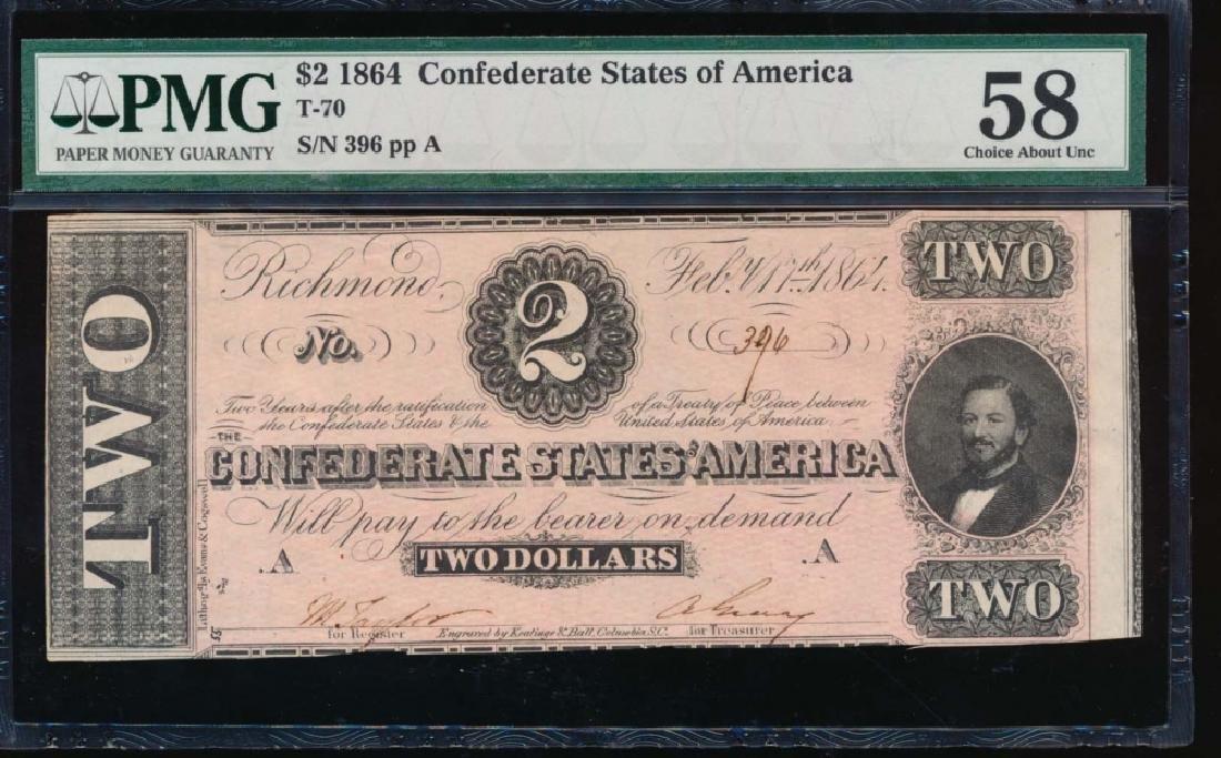 1864 $2 Confederate States of America Note PMG 58