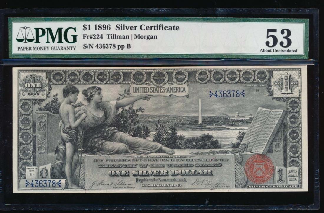 1896 $1 Silver Certificate PMG 53