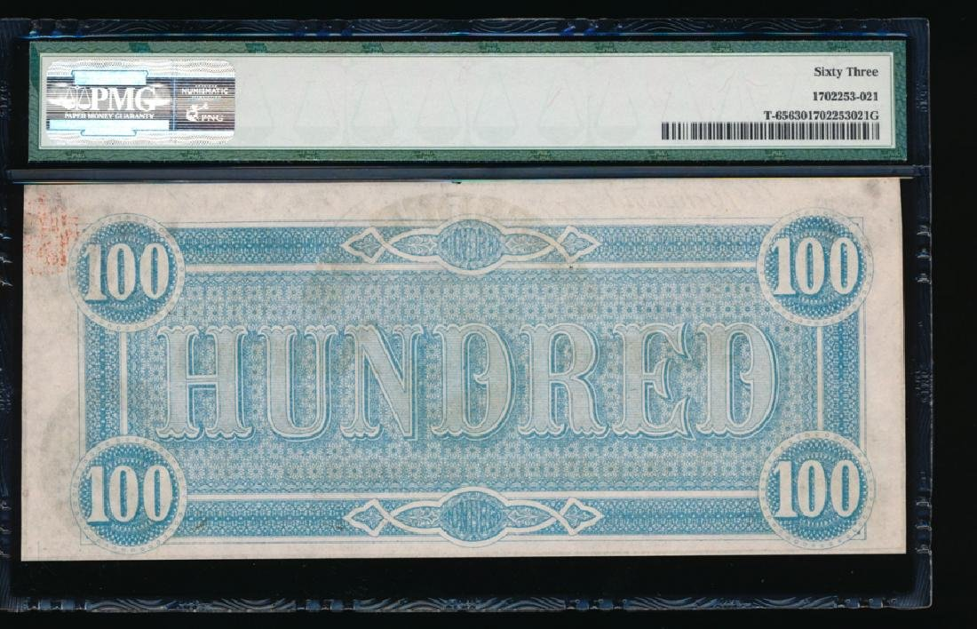 1864 $100 Confederate States of American Note PMG 63 - 2