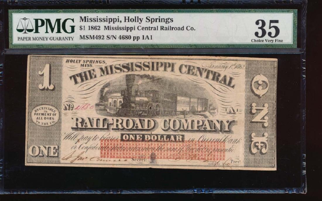1862 $1 Mississippi Central Rail Road Co Obsolete Note