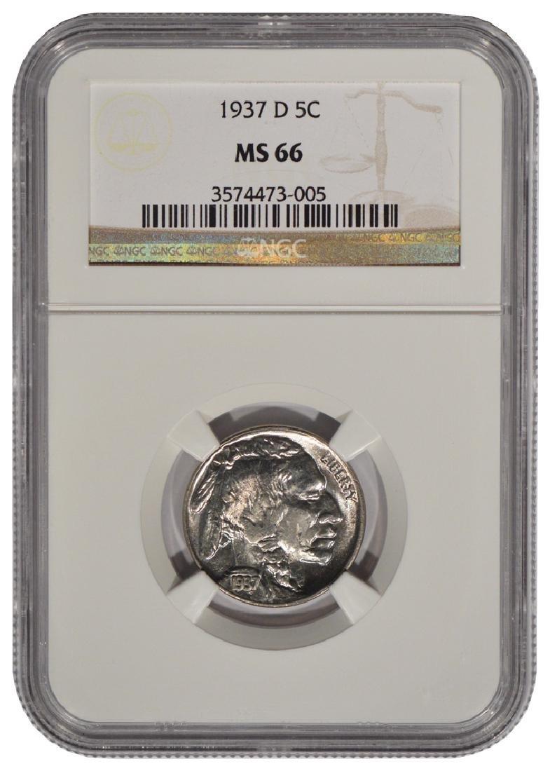 1937-D Buffalo Nickel Coin NGC MS66