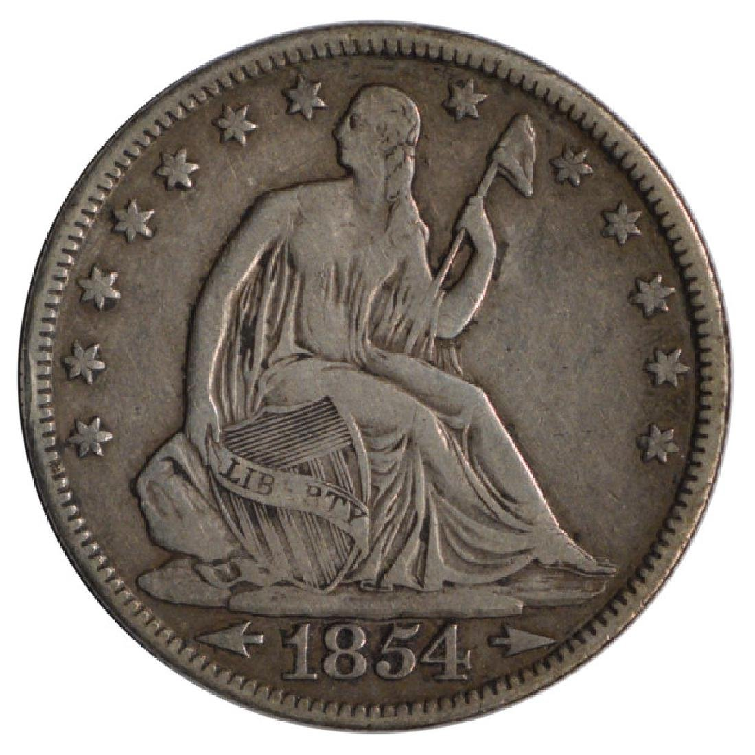 1854 Seated Liberty Half Dollar Coin