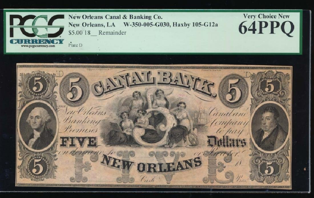 1800's $5 Canal Bank Obsolete Note PCGS 64PPQ