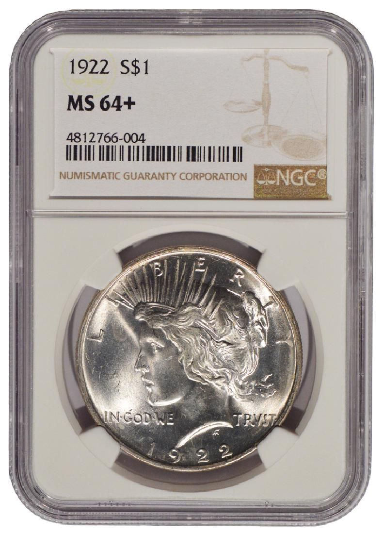 1922 $1 Peace Silver Dollar Coin NGC 64+