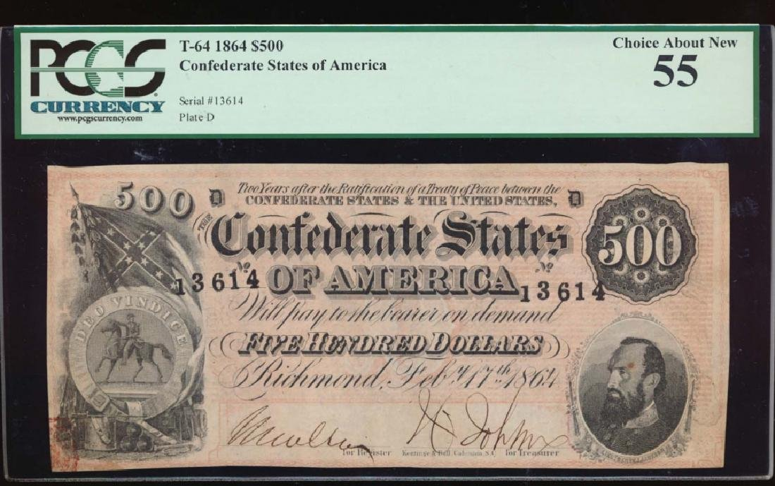 1864 $500 Confederate States of America Note PCGS 55