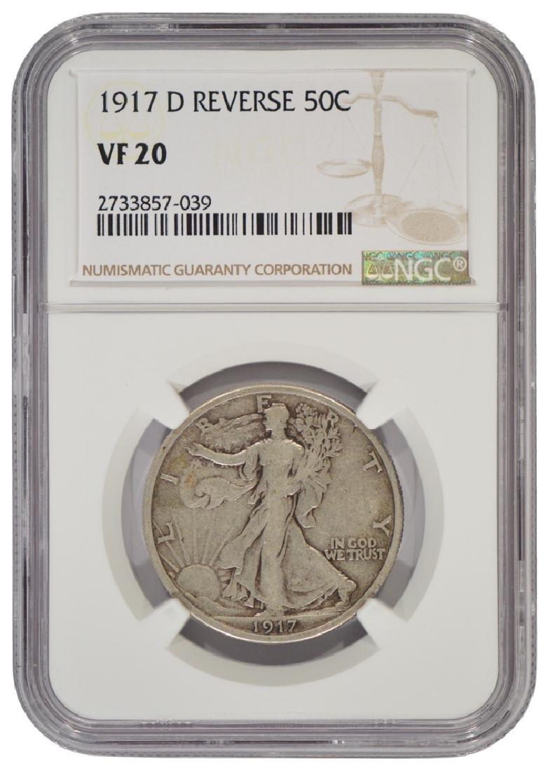 1917-D Reverse Mintmark Walking Liberty Half Dollar NGC