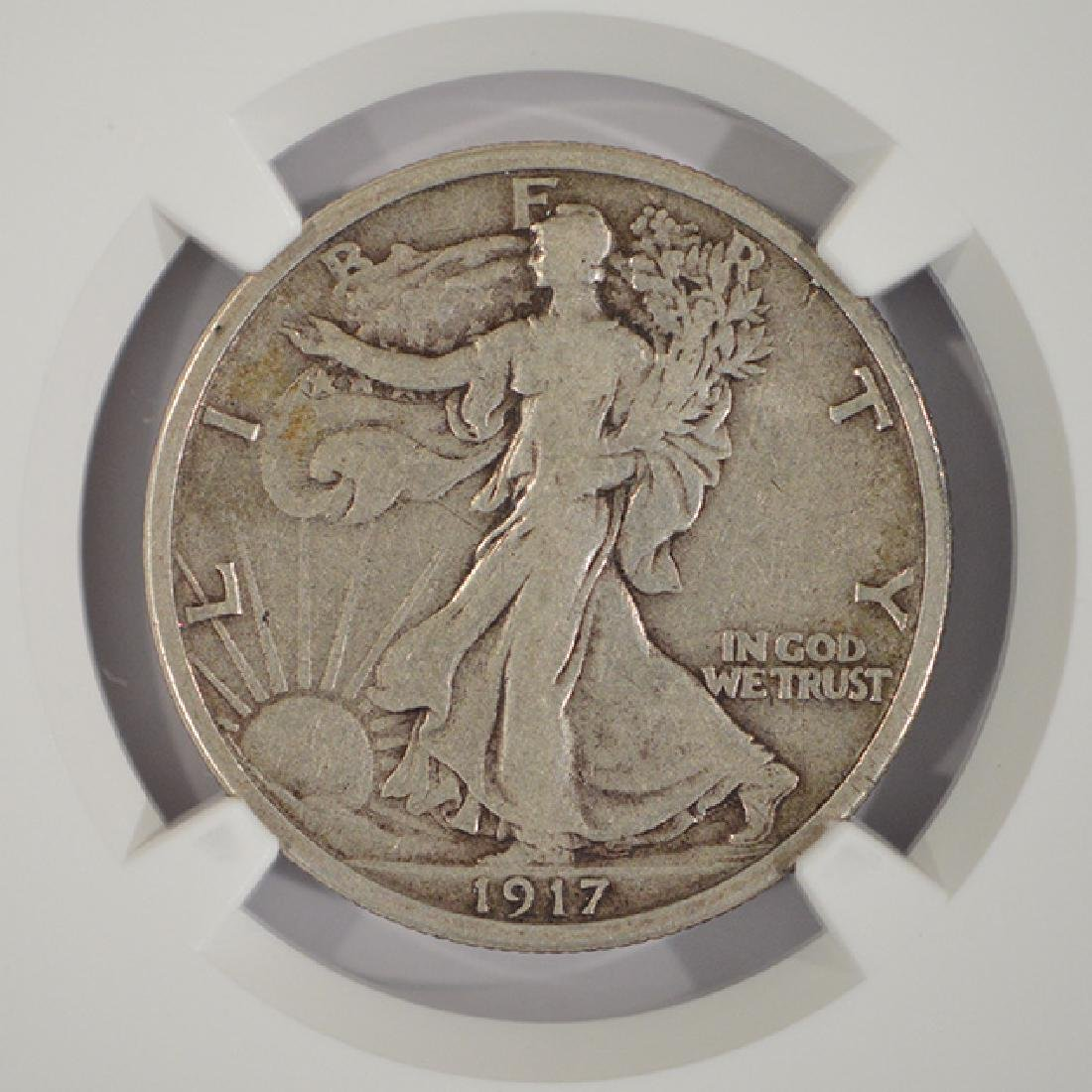 1917-D Reverse Mintmark Walking Liberty Half Dollar NGC - 3
