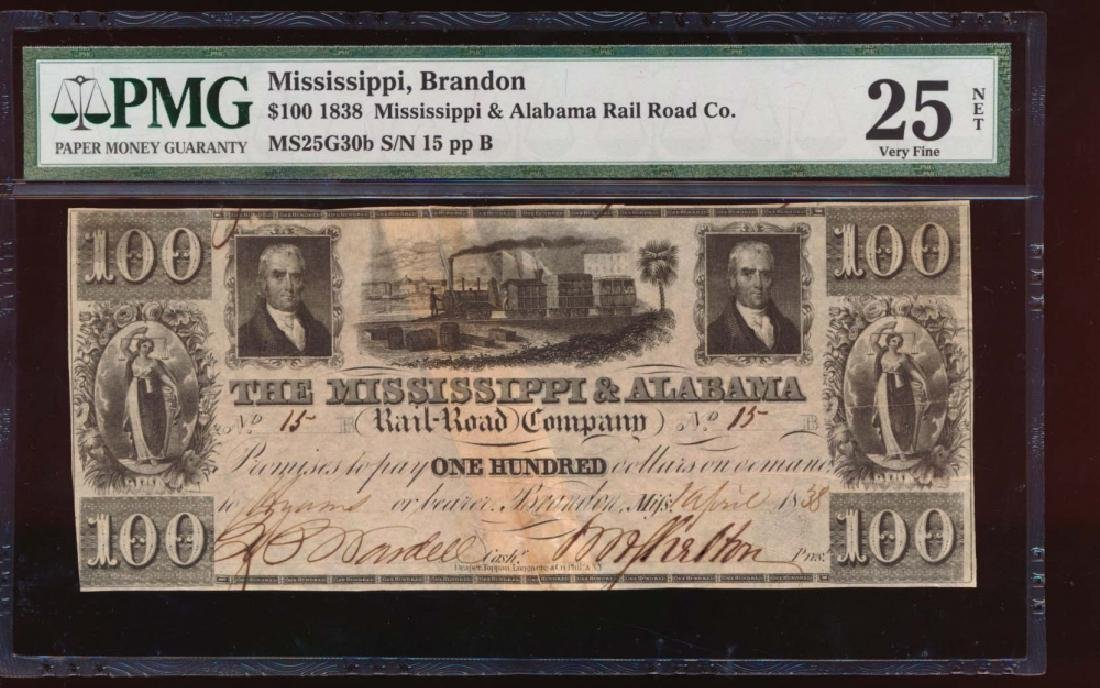 1838 $100 Mississippi and Alabama Rail Road Co Obsolete