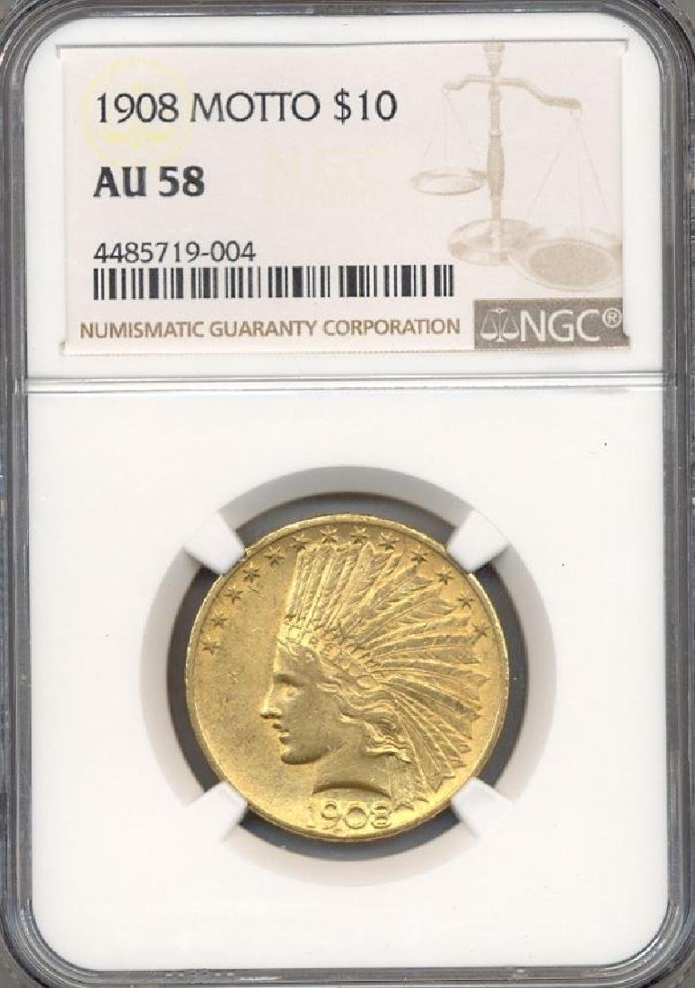 1908 $10 Indian Head Eagle Motto Gold Coin NGC AU58