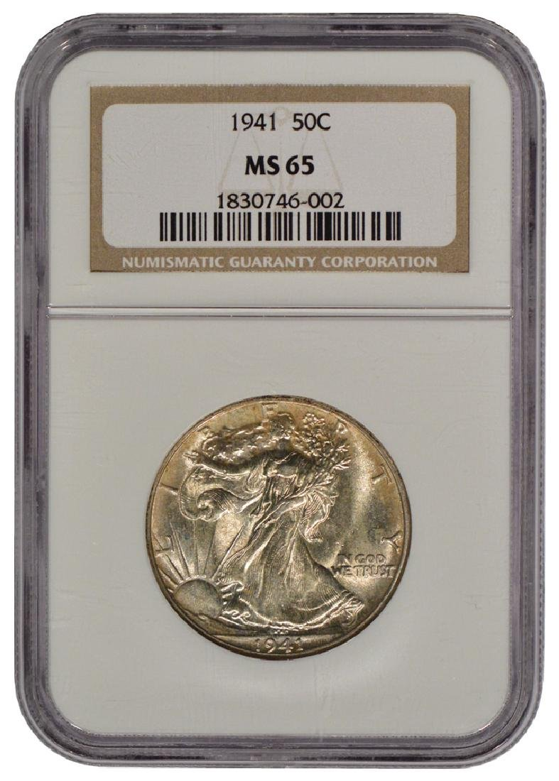 1941 Walking Liberty Half Dollar Coin NGC MS65